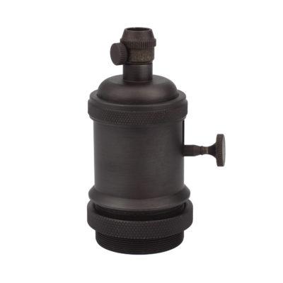 Vintage objímka s otočným spínačom, E27, čierna matná farba
