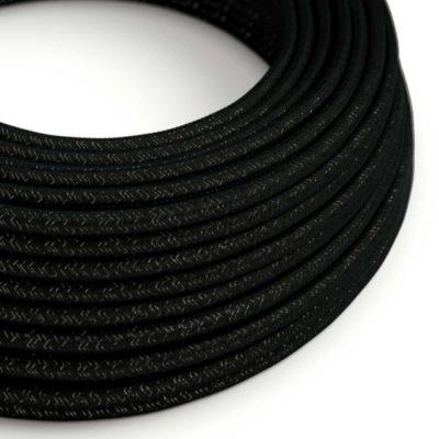 Kábel s trblietavým povrchom, Umelý hodváb, Čierna farba, 2 x 0.75mm, 1 meter