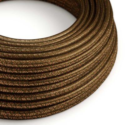 Kábel s trblietavým povrchom, Umelý hodváb, Hnedá farba, 2 x 0.75mm, 1 meter