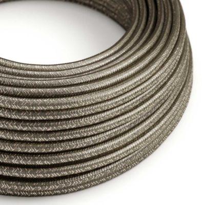 Kábel s trblietavým povrchom, Umelý hodváb, Šedá farba, 2 x 0.75mm, 1 meter