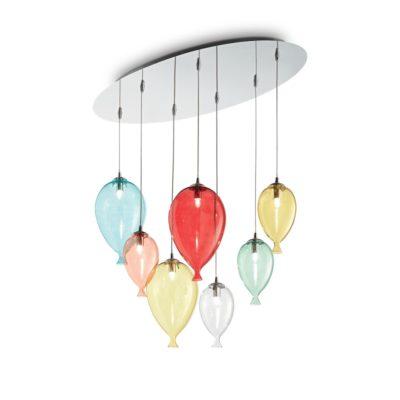 Kreatívny sklenený luster CLOWN SP7 v dizajne 7 balónikov