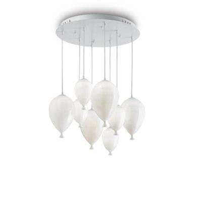 Kreatívny sklenený luster CLOWN SP8 v dizajne 8 balónikov v bielej farbe
