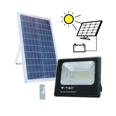 LED Solárny reflektor s 35W solárnym panelom, Studená biela, 2450lm