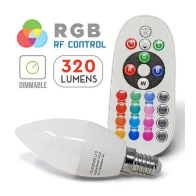 LED žiarovka na diaľkové ovládanie, 3.5W, E14, Denná biela