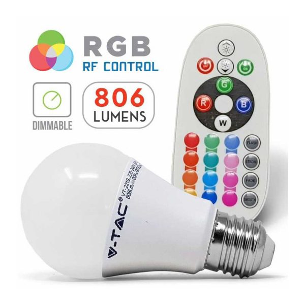 LED žiarovka na diaľkové ovládanie, E27, 9W, E27, Teplá biela