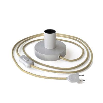 Biela kovová stolná lampa s textilným káblom, vypínačom a dvojpólovou zástrčkou | Daylight Italia
