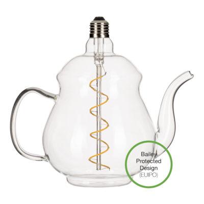 LED Žiarovka Čajník Earl Clear, E27, 4W, 2200K, 240lm, Stmievateľná | Bailey Lights