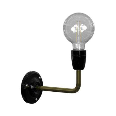 Vintage priemyselné kovové nástenné svietidlo v čiernej farebnej kombinácií