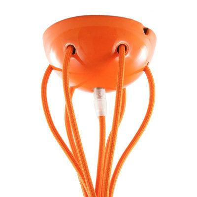 Keramická rozeta pre 7 svietidiel v oranžovej farbe