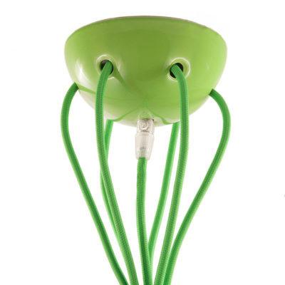 Keramická rozeta pre 7 svietidiel v krikľavo zelenej farbe