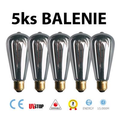 Dymová LED žiarovka - TEARDROP - 5W, 150lm, E27, Stmievateľná, 2000K – BALENIE 5 KUSOV