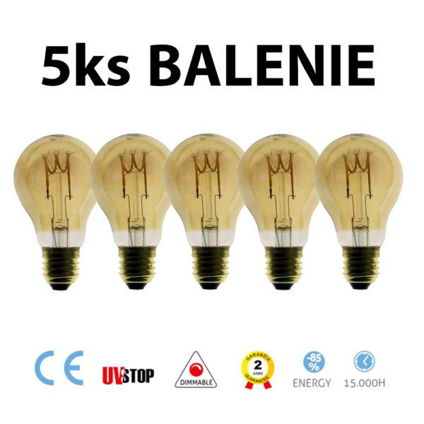 Jantárová LED žiarovka - GOCCIA - 3W, 120lm, E27, Stmievateľná, 2000K – BALENIE 5 KUSOV