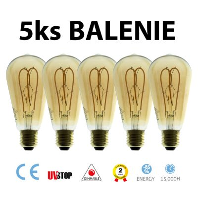 Jantárová LED žiarovka - TEARDROP - 5W, 250lm, E27, Stmievateľná, 2000K – BALENIE 5 KUSOV