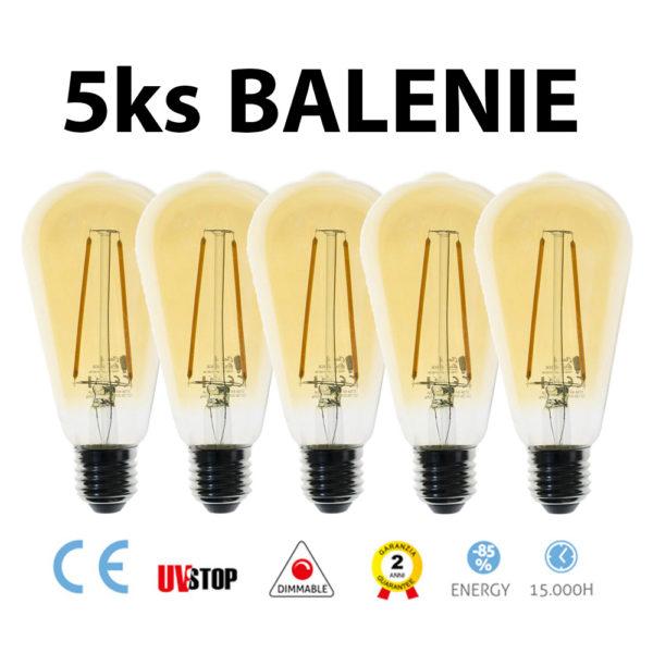 LED žiarovka FILAMENT ST64 - 4W, E27, 400lm, 2000K – BALENIE 5 KUSOV