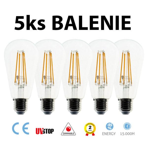 LED žiarovka ST64 - 7.5W, E27, 805lm, Stmievateľná, 2200K – BALENIE 5 KUSOV