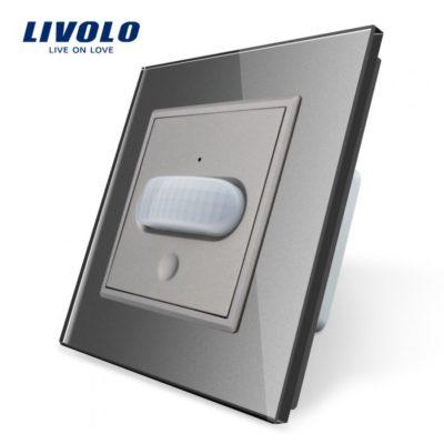 PIR pohybové čidlo, Vypínač svetla, šedý kryštálový panel