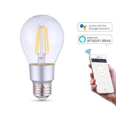 WIFI SMART LED Žiarovka, 6W, 700Lm, E27, Teplá biela, kompatibilná s AMAZON ALEXA + GOOGLE HOME