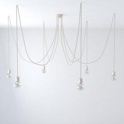 Závesné keramické svietidlo pavúk so 6 päticami v béžovej farbe