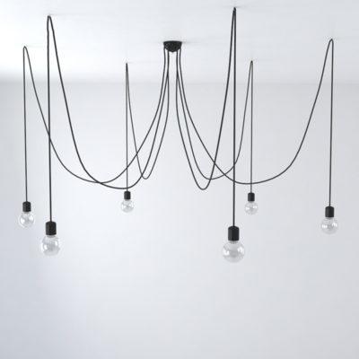 Závesné keramické svietidlo pavúk so 6 päticami v čiernej farbe