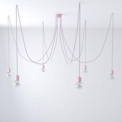 Závesné keramické svietidlo pavúk so 6 päticami vo svetlo fialovej farbe
