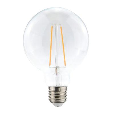 Priehľadná LED žiarovka – G95, 4W, E27, 400lm, Teplá biela | Daylight Italia