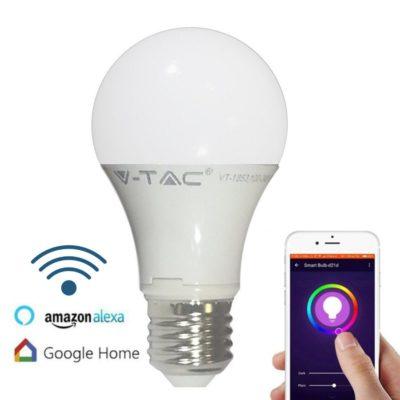 SMART WIFI LED Žiarovka, 9W, 800Lm, E27, RGB + Denná biela, kompatibilná s AMAZON ALEXA + GOOGLE HOME