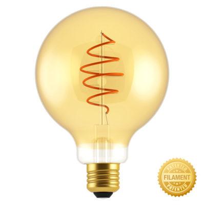 Zlatá LED žiarovka - CROISSANT SPHERE - 5W, E27, Stmievateľná, 2000K, 250lm | Daylight Italia