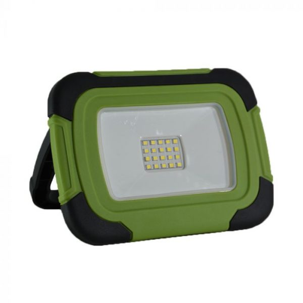 20W Nabíjateľný LED reflektor s USB, 140lm, IP44, Studená biela, zelená farba