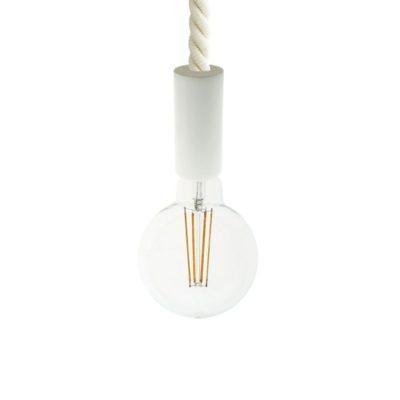 Biele drevené závesné svietidlo s 24mm káblom v tvare lana