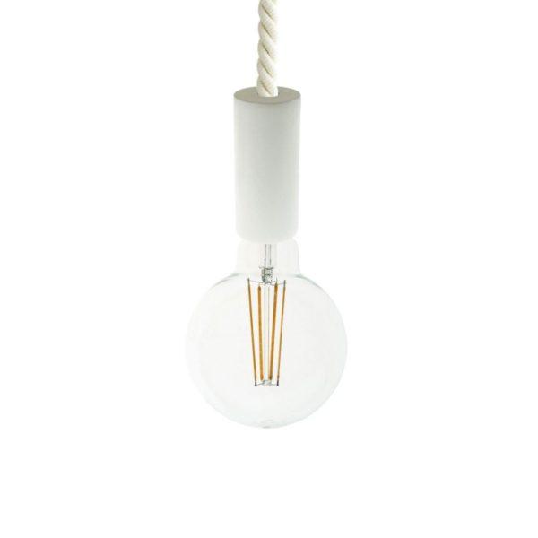 Biele drevené závesné svietidlo so 16mm káblom
