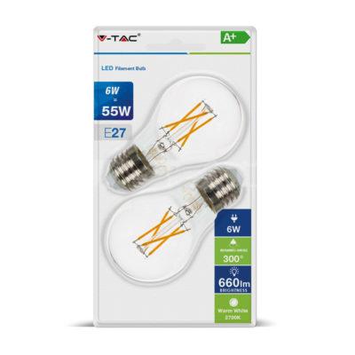 LED žiarovka E27, 6W, Teplá biela, 660lm, Teplá biela, zvýhodnené balenie 2ks