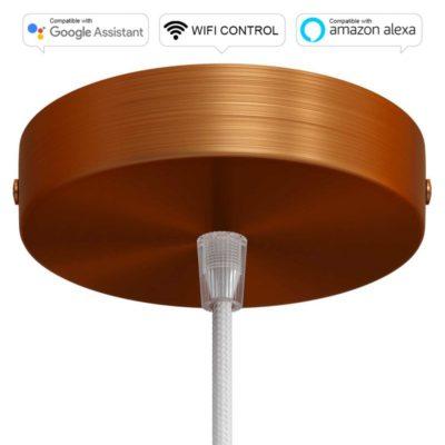 SMART WIFI Stropná rozeta kompatibilná s hlasovými asistentmi Google Home a Amazon Alexa, brúsená medená