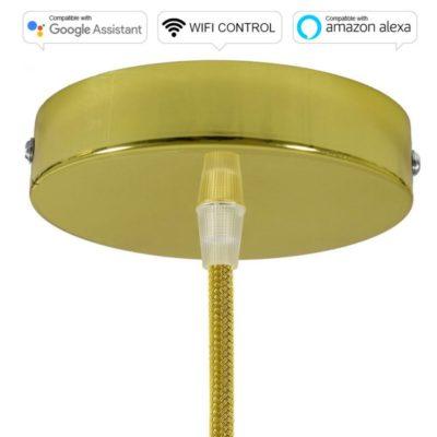SMART WIFI Stropná rozeta kompatibilná s hlasovými asistentmi Google Home a Amazon Alexa, mosádzna