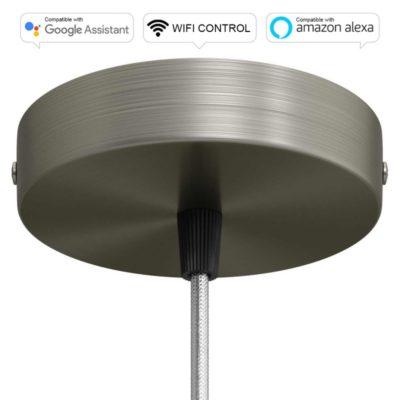 SMART WIFI Stropná rozeta kompatibilná s hlasovými asistentmi Google Home a Amazon Alexa, titánová