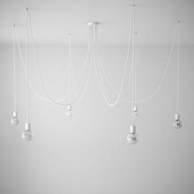 Závesné svietidlo pavúk so 6 päticami s bielymi káblami a bielou rozetou