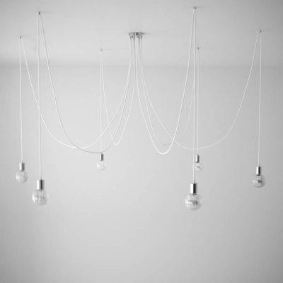 Závesné svietidlo pavúk so 6 päticami s bielymi káblami a chrómovou rozetou