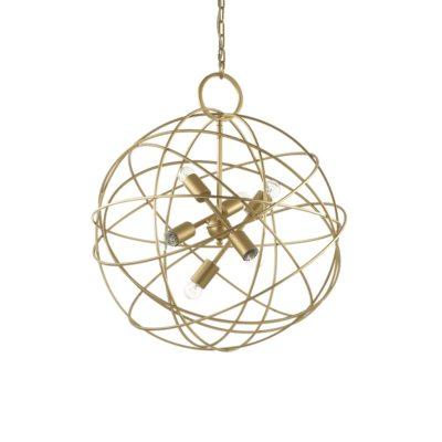 Kovový závesný luster v zlatej farbe KONSE SP6 | Ideal Lux