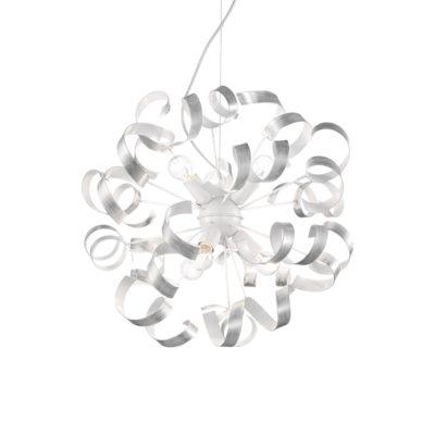 Kreatívny luster VORTEX SP6 s ozdobnými kovovými prvkami v striebornej farbe | Ideal Lux