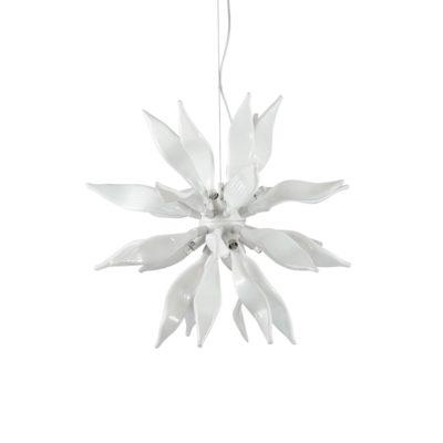 Luxusný sklenený luster LEAVES SP8 v bielej farbe   Ideal Lux