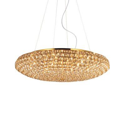 Elegantný sklenený luster KING SP12 v zlatej farbe