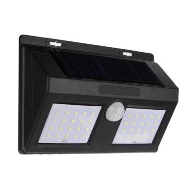 LED solárne svietidlo na stenu v čiernej farbe, 4W, IP65, 500lm.