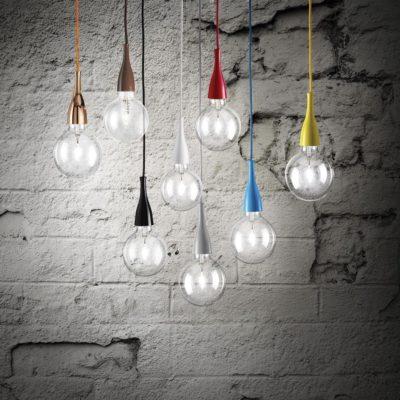 Moderné štýlové svietidlo MINIMAL SP1. Kovový rám je k dispozícii vo farebne smaltovanej povrchovej úprave. Vrátane úspornej žiarovky.