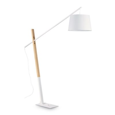 Podlahová lampa s dreveným stojanom EMINENT PT1 BIANCO | Ideal Lux