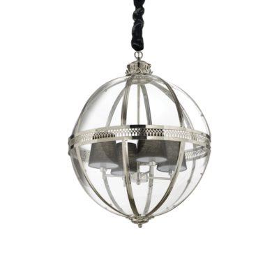 Sklenený luster v chrómovej úprave WORLD SP4 | Ideal Lux