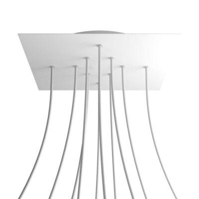 XXL Štvorcová kovová stropná rozeta s priemerom 40 cm a 10 otvormi
