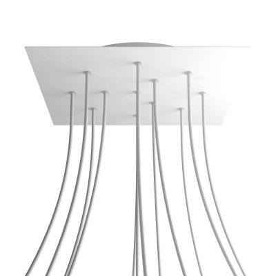 XXL Štvorcová kovová stropná rozeta s priemerom 40 cm a 12 otvormi