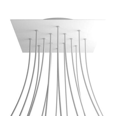 XXL Štvorcová kovová stropná rozeta s priemerom 40 cm a 14 otvormi