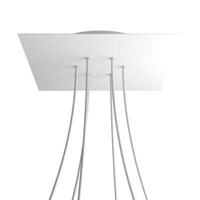 XXL Štvorcová kovová stropná rozeta s priemerom 40 cm a 6 otvormi