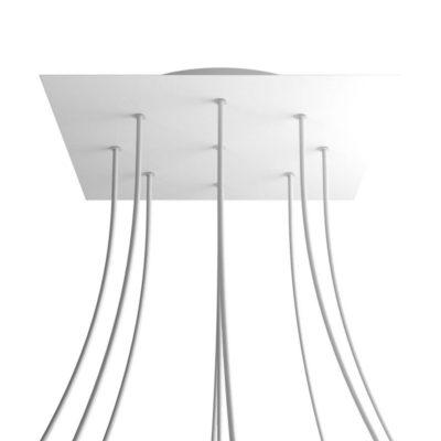 XXL Štvorcová kovová stropná rozeta s priemerom 40 cm a 9 otvormi