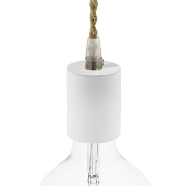 Drevená objímka E27 pre textilné káble, biela farba.